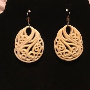 Carved bone earrings faux with glass crystal beads